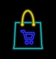 shopping bag neon sign bright glowing symbol on a vector image