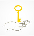 simple graphic of a hand with key vector image vector image