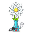 singing modern plant in a glass vase cartoon vector image vector image