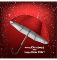 snow umbrella Christmas greeting vector image vector image