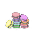 stack of colorful macaron macaroon almond cakes vector image
