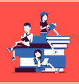 students on book pile vector image