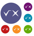 tick and cross icons set vector image vector image