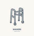 walkers line icon logo for rehabilitation vector image vector image