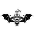 witch skull with bat wings vector image vector image