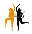 with cat and dog dancing together golden vector image