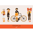 hipster cute girls isolated on background vector image