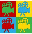 Pop art camera icons vector image