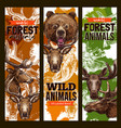 animal sketch banner set with bear deer and elk vector image vector image