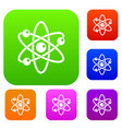 atom with electrons set color collection vector image vector image