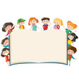 background template with kids around book vector image