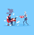 businessman hard working process robot hold vector image vector image