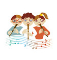children playing on flute vector image