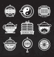 chinese oriental tea shop badges vector image vector image
