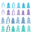 Christmas and new year trees set