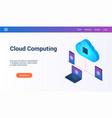 cloud computing 3d lp template2 vector image vector image