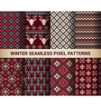 Collection of pixel bright seamless patterns vector image vector image