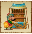 Cunning seller from Asia with empty shelves vector image