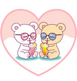 cute couple bears drinking milkshakes vector image