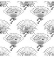 fan with floral decoration vector image vector image