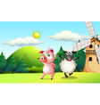 Farm animals dancing near the windmill vector image vector image