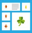 flat icon foliage set of linden foliage maple vector image vector image