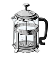 French press tea pot vector image vector image