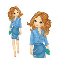 Girl Dressed In Denim Skirt And Shirt vector image