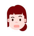 girl head with facial emotions avatar character vector image