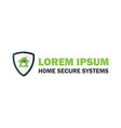 Green Home Security System Logo with Padlock vector image vector image