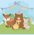 group cute animals farm in birthday party scene vector image vector image
