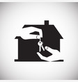 hand giving a property key on white background vector image