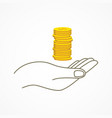 hand holding coins vector image vector image