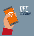 hand with smartphone wifi to nfc transaction vector image vector image