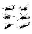 helicopter detailed silhouettes vector image vector image
