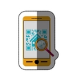 Isolated qr code and smartphone design vector image vector image