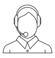 Man with a headset icon outline style vector image vector image