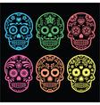 Mexican sugar skull Dia de los Muertos icons vector image vector image