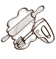monochrome set of rollout dough with rolling pin vector image