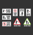 no littering igns do not throw rubbish vector image vector image