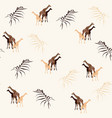 palm trees leaves silhouette and giraffe vector image