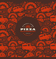 pizzeria label and frame with pattern vector image vector image