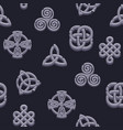 seamless pattern celtic symbols cartoon set vector image