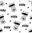 seamless pattern with cartoon superheroes vector image vector image