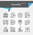 security thin line icon set vector image