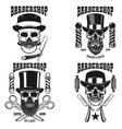 set barbershop emblem template skull vector image vector image