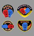 Set boxing emblem Boxing gloves in embem vector image