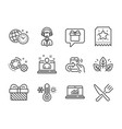 set business icons such as organic tested vector image vector image