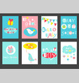 set of birthday banners with cute birds vector image vector image