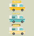 set of color food truck street food truck concept vector image